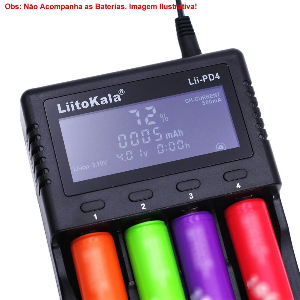 Carregador Inteligente de Pilhas com LCD Liitokala Lii-PD4