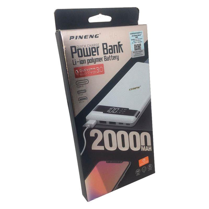 Carregador Portátil Power Bank Pineng ORIGINAL 20000mAh PN-962 C/ LCD e Quick Charge 3.0