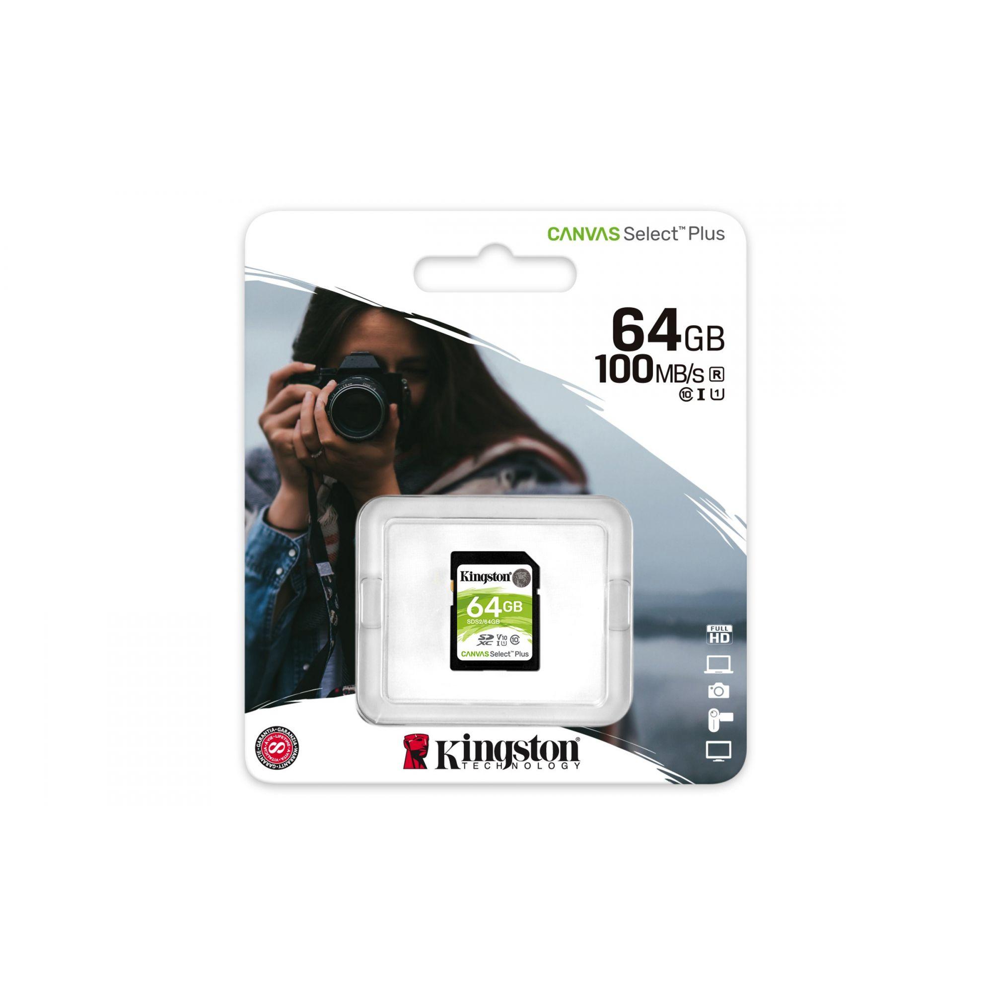 CARTAO DE MEMÓRIA SD 64GB CLASSE 10 SDS2/64GB SDXC 100MB/S KINGSTON CANVAS SELECT PLUS ORIGINAL