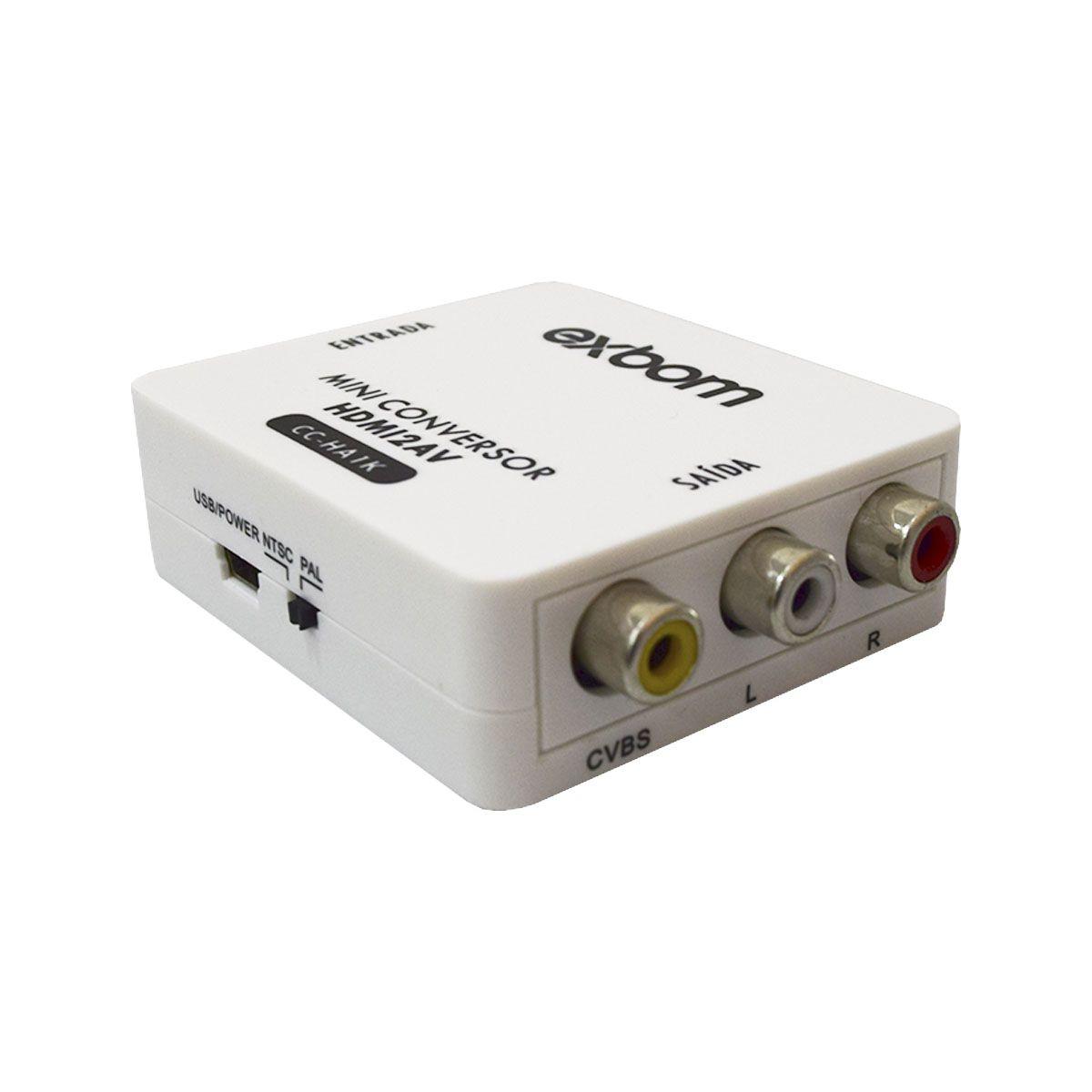 CONVERSOR HDMI AUDIO E VÍDEO PARA AV RCA 1080P EXBOM