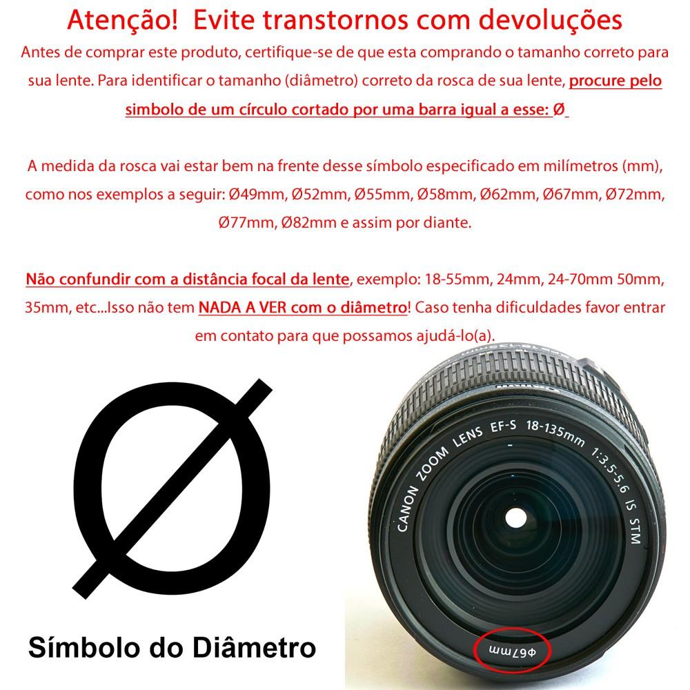 Filtro CPL Polarizador ou Polaróide Tira Reflexo P/ Lente Câmera Fotográfica