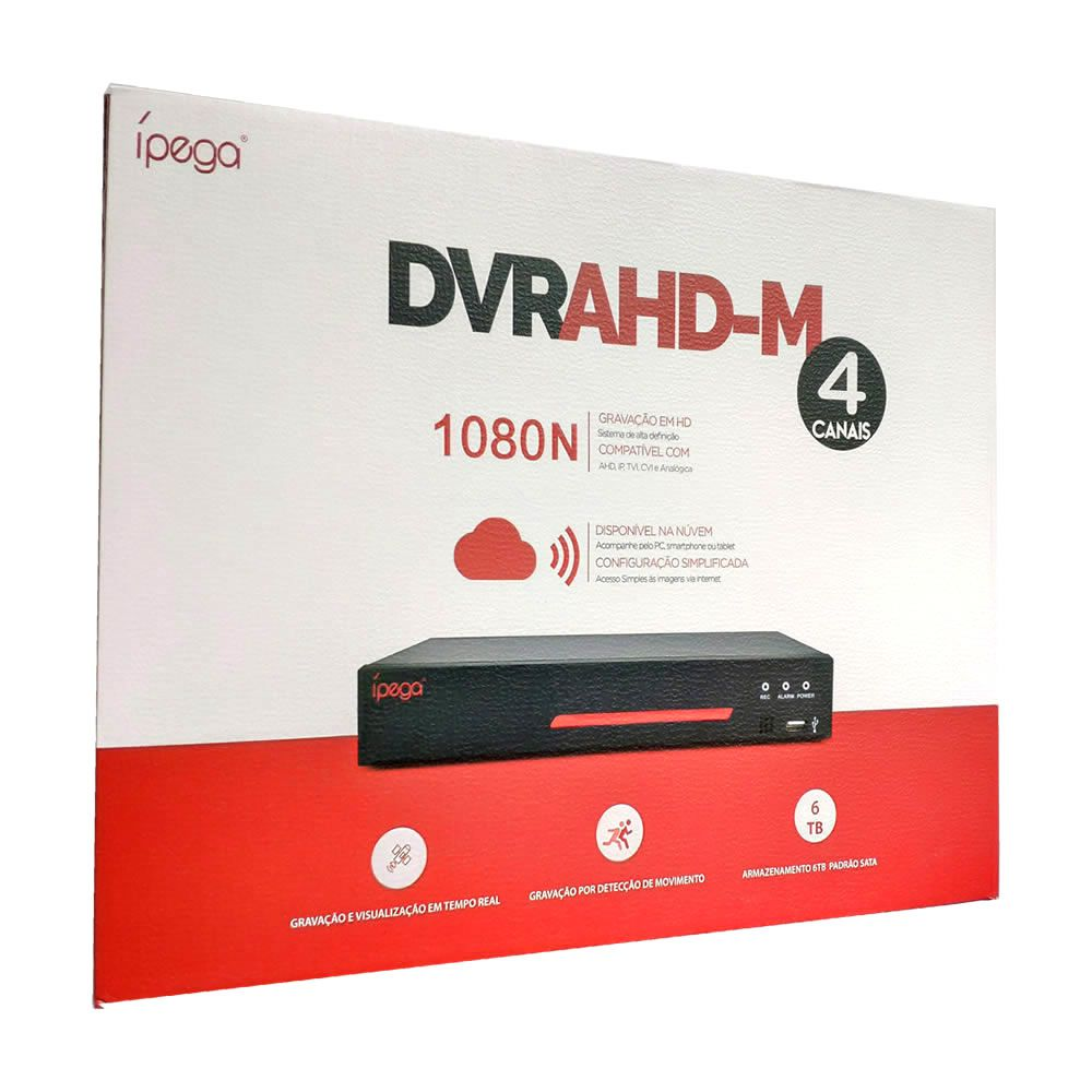 Gravador DVR AHD-M 4 Canais 1080N AHD IP TVI CVI Analógica App Xmeye Ípega KP-CA102