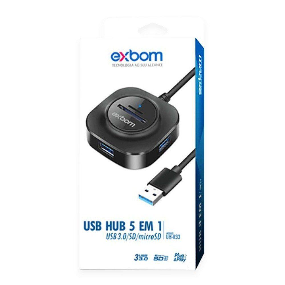 Hub USB 3.0 C/ 3 Portas e Leitor de Cartão e Carregamento Smart Exbom UH-R33