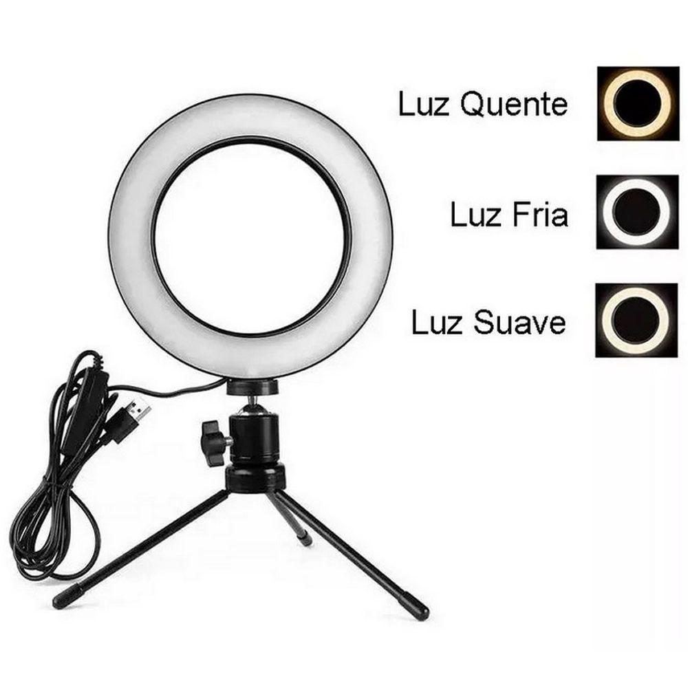 Iluminador Ring Light Foto Video 15cm 6 polegadas 48 Leds Com Dimmer 3200K a 5600K Com Tripé de Mesa