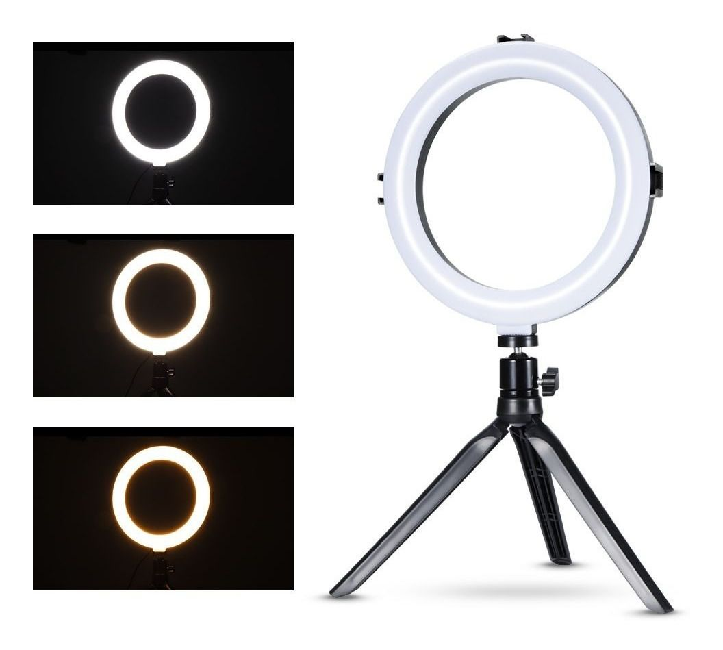 Iluminador Ring Light Foto Video 20cm 8 polegadas 78 Leds Com Dimmer 3200K a 5600K Com Tripé de Mesa