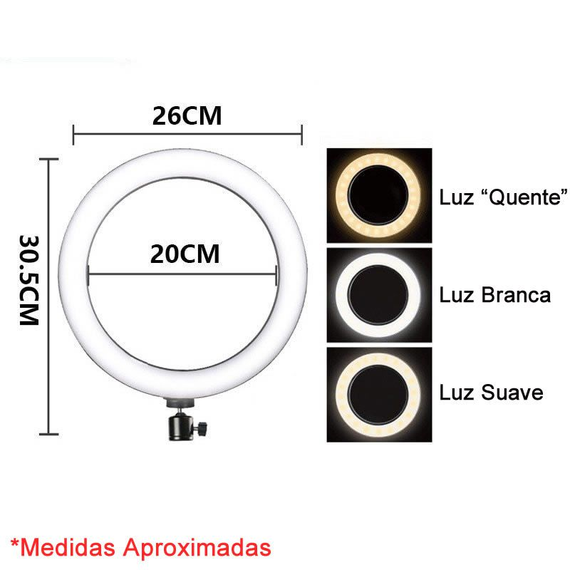 Iluminador Ring Light Foto Video 26cm 10 polegadas 120 Leds Com Dimmer 3200K a 5600K Com Tripé de Mesa