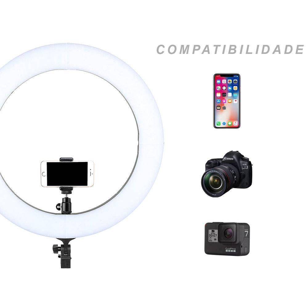 Iluminador Ring Light GIGANTE 320 Leds 19 Polegadas 49cm Para Foto e Vídeo C/ Suporte Celular e Dimmer