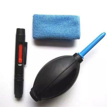 Kit de Limpeza Lentes e Câmeras 3 em 1 Bomba de Ar Caneta e Lenço