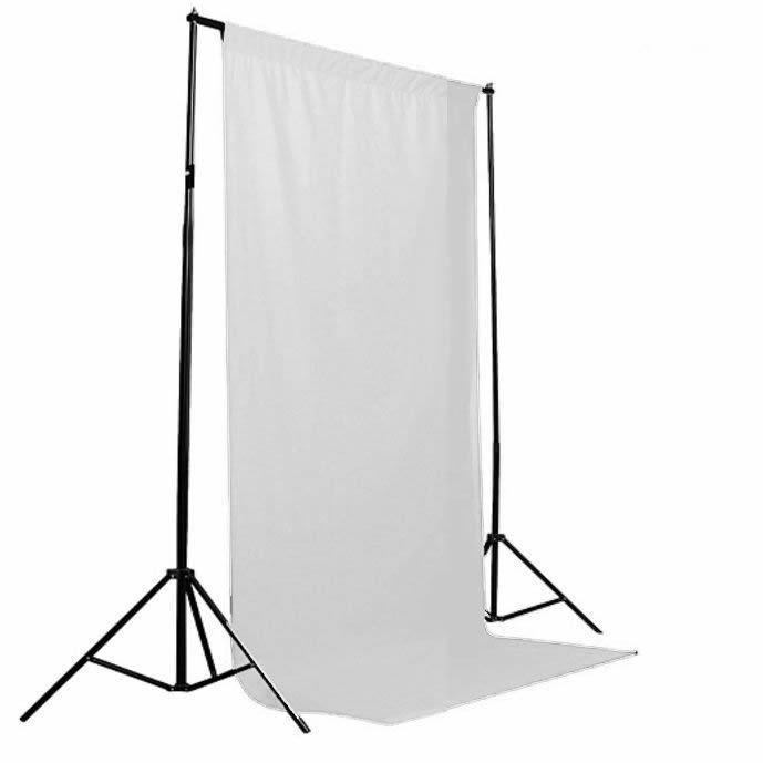 Kit Fundo Fotográfico com 2 tripés + Varão de suporte + 2 Tecidos 2x3 metros (1 Branco e 1 Preto) Tomate