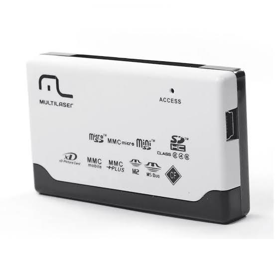 Leitor de Cartão de Memória Externo Usb 46 em 1 Multilaser AC076 SD, Micro SD, MS Pro, MS Duo, MMC, CFI, CFII, MD, etc