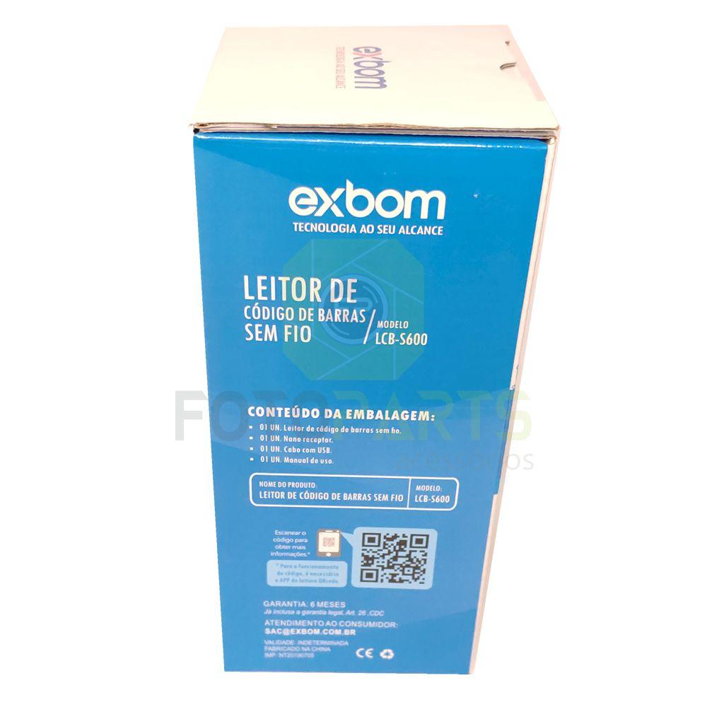 Leitor de Código de Barra Sem Fio Wireless Exbom LCB-S600