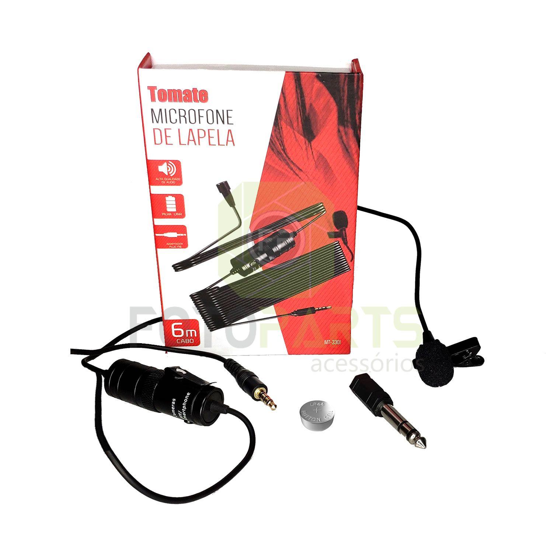 Microfone de Lapela Para Celular Câmera e Notebook 6m cabo Tomate MT-3301