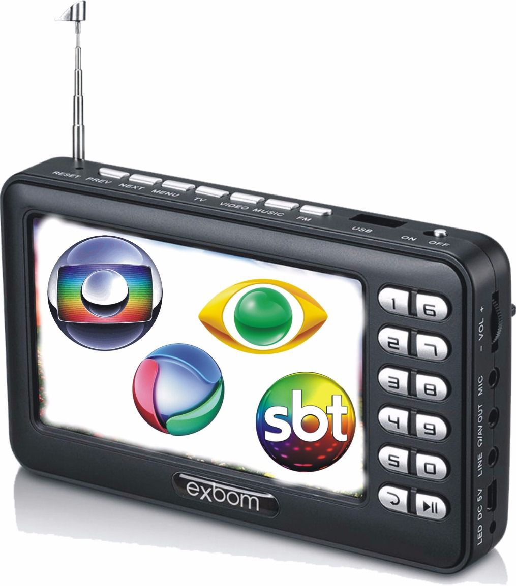 "Mini TV Digital Multimídia Portátil 4.3"" ISDBT / FM / MP4 / TF e USB Pendrive"