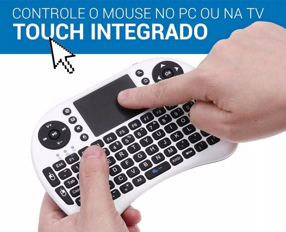 Mini Teclado Sem Fio Wireless 2.4g Iluminado com Touchpad Ou Mouse e Bateria de Litio