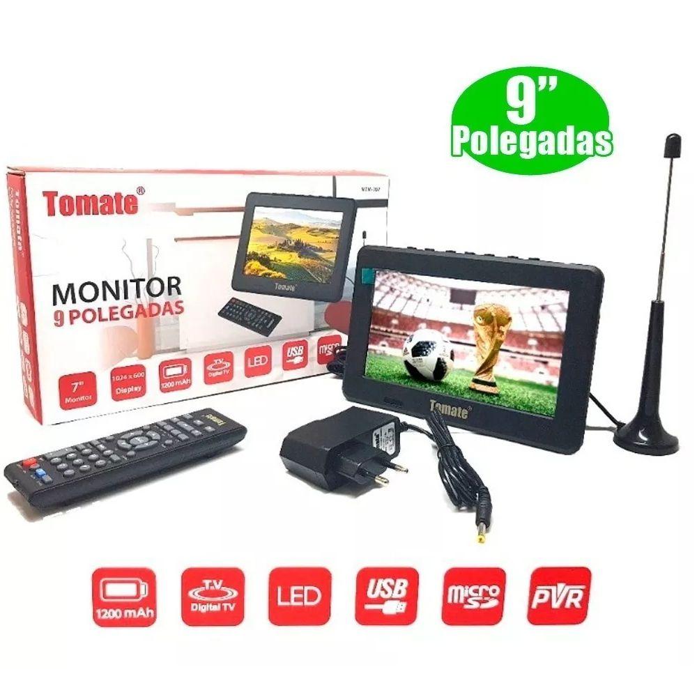 """Mini TV Monitor Digital Portátil 9"""" Polegadas c/ Controle Remoto e Rádio FM Lê Pen-Drives e Cartão de Memória"""