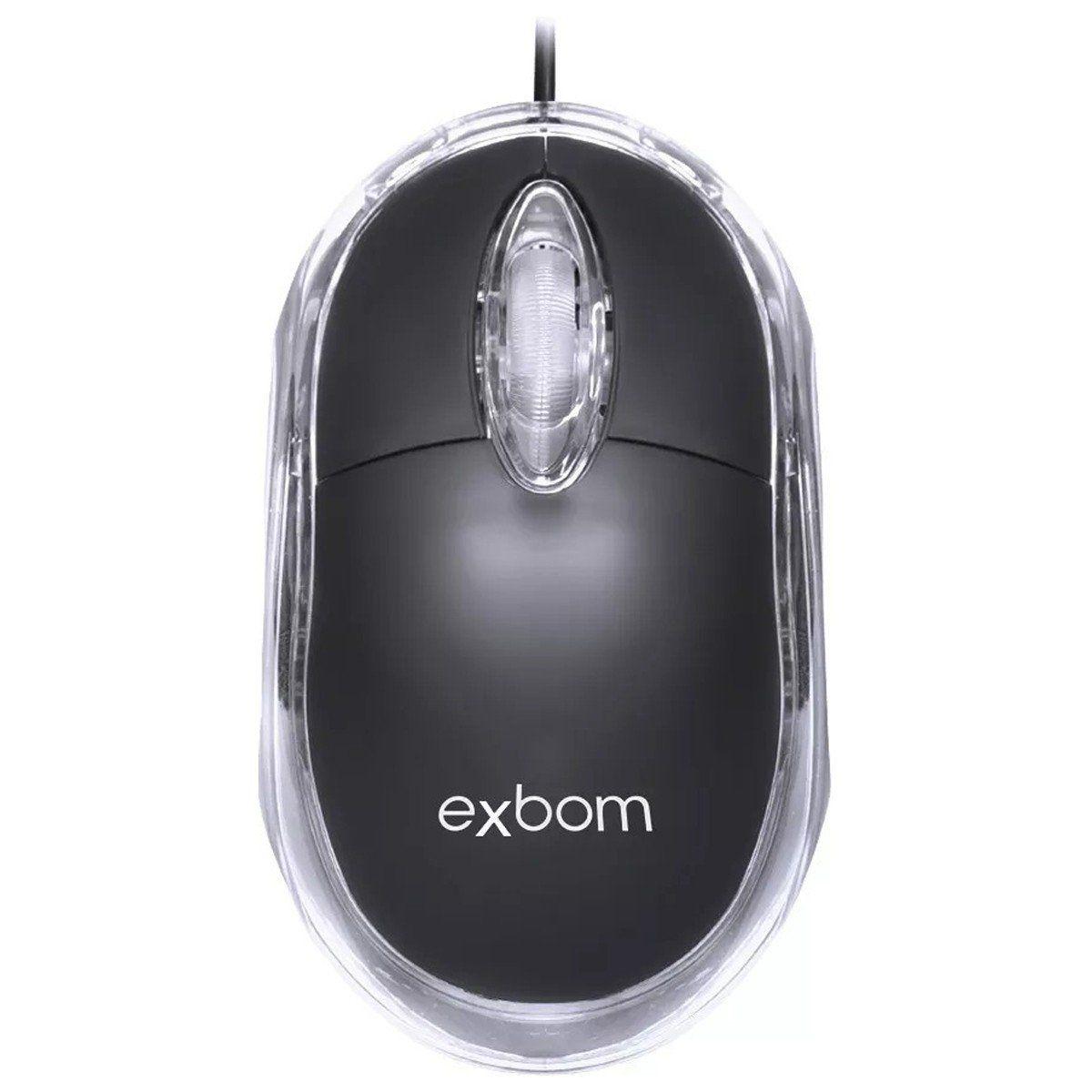 MOUSE ÓTICO USB 1000 DPI C/ LED AZUL EXBOM MS-10