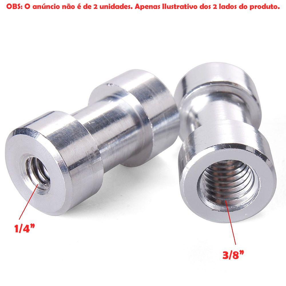 """Parafuso Adaptador Pino 1/4"""" e 3/8"""" p/ suporte de sombrinha ou softbox em Tripé Fotográfico"""