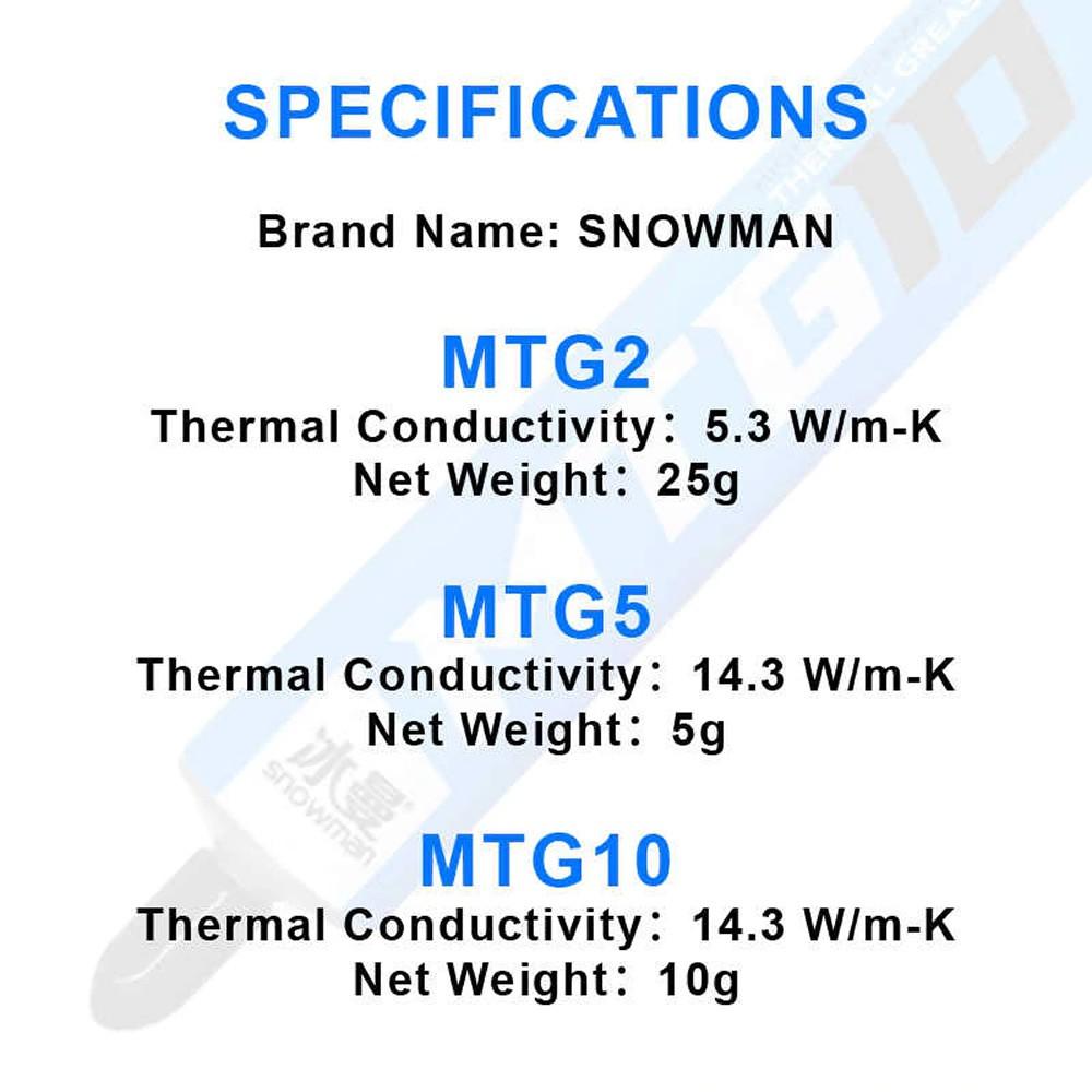 Pasta Térmica Snowman MTG5 14.3W/m-K 5gr