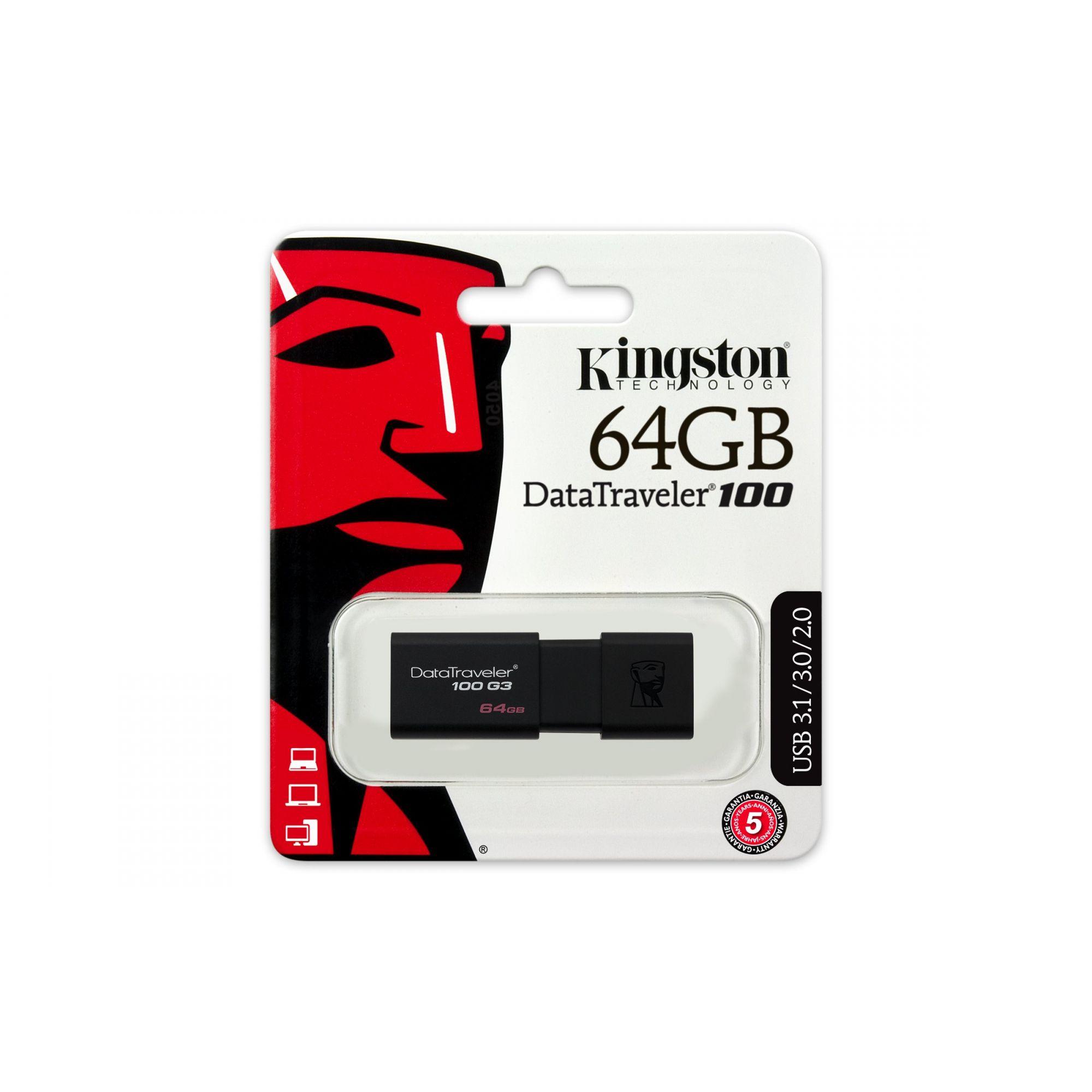 PEN DRIVE USB 3.0 DT100G3/64GB DATATRAVELER 100 64GB GENERATION 3 KINGSTON