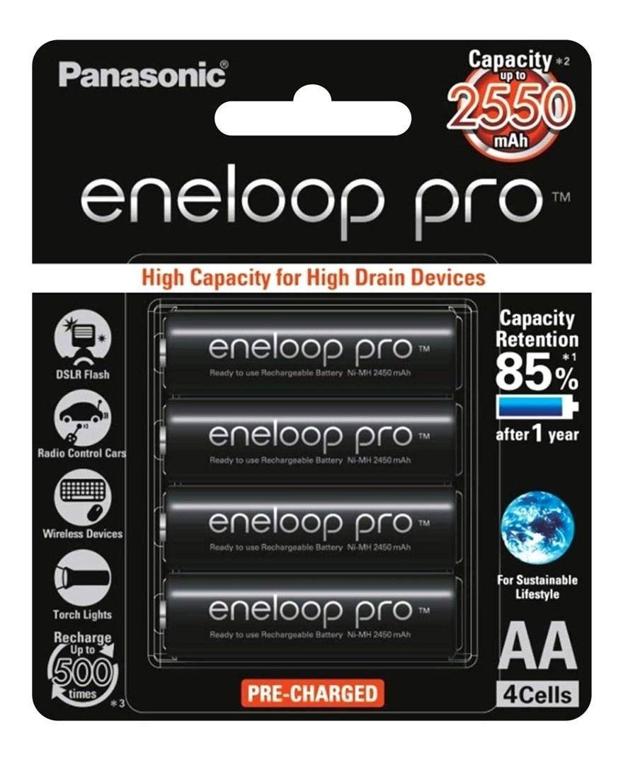 Pilha Recarregável Cartela com 4 Panasonic Eneloop Pro 2550mAh BK-3HCDE Original