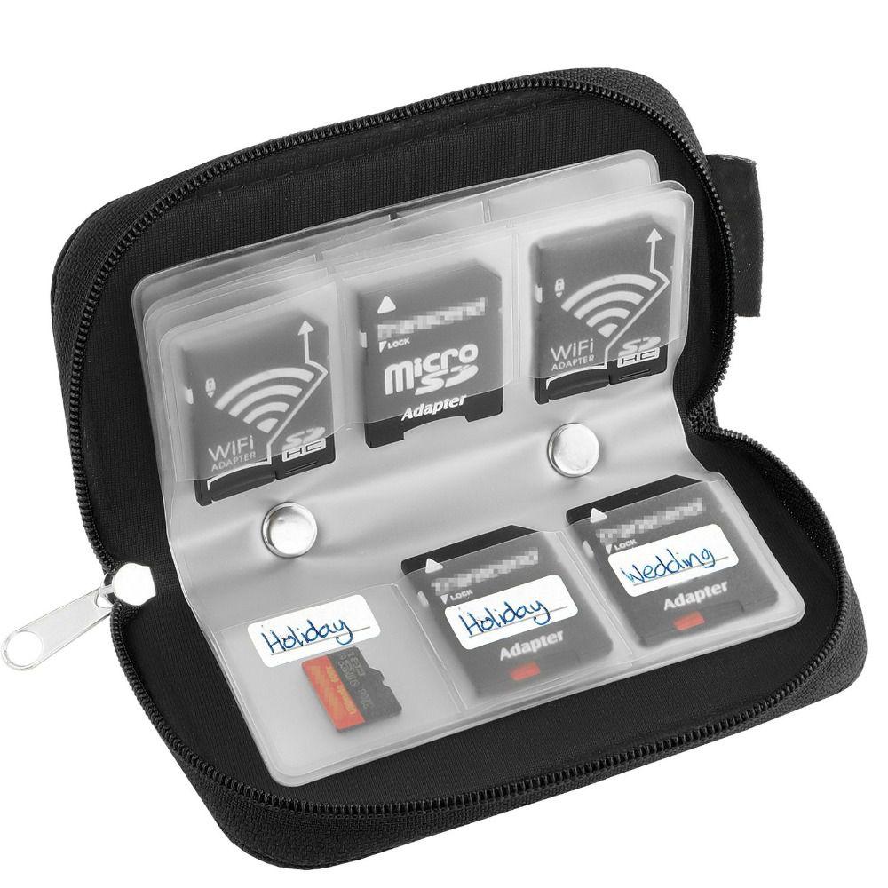 Case Porta Cartão de Memória SD, Micro SD e Compact Flash CF Estojo em Nylon C/ Zíper 22 Cartões em 1
