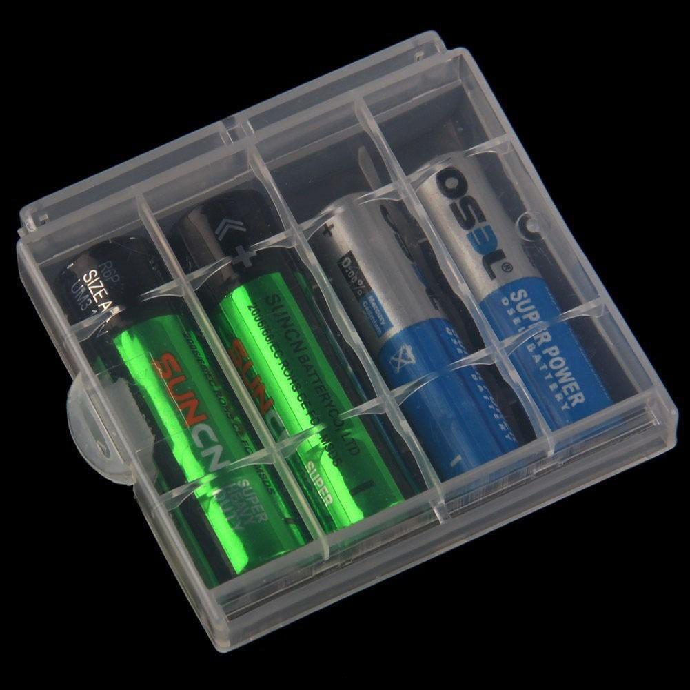 Porta Pilhas Case Estojo Plástico para 4 Pilhas Caixinha Proteja e Organize