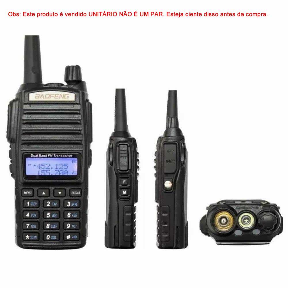 Rádio Comunicador Uhf/Vhf Walkie-Talkie C/ Visor e Fone de Ouvido até 5KM Baofeng BF-UV82