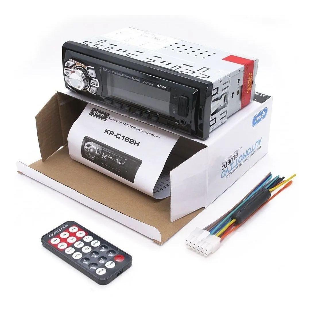 Rádio Som Automotivo Carro MP3 AM/FM Bluetooth Lê Cartão Pen-Drive USB 60W Controle Remoto KP-C16BH