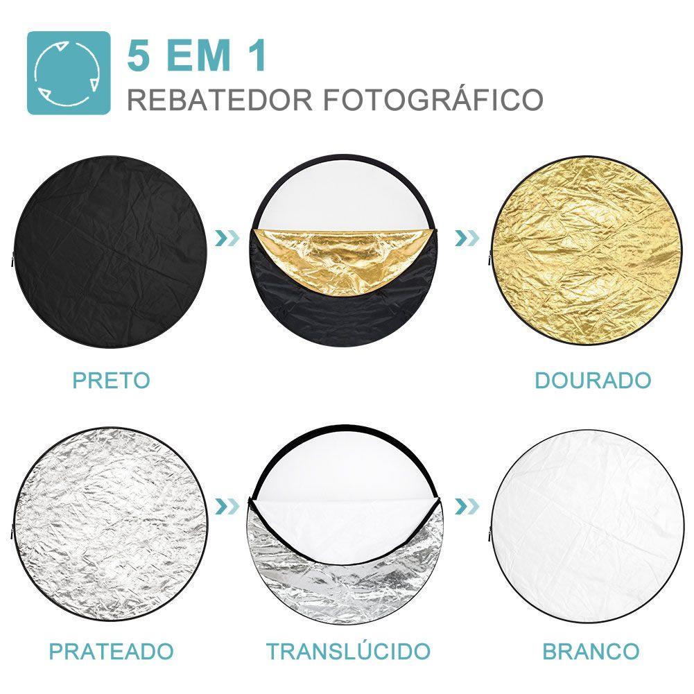 Rebatedor Fotográfico Redondo 5 em 1 Fotografia Profissional