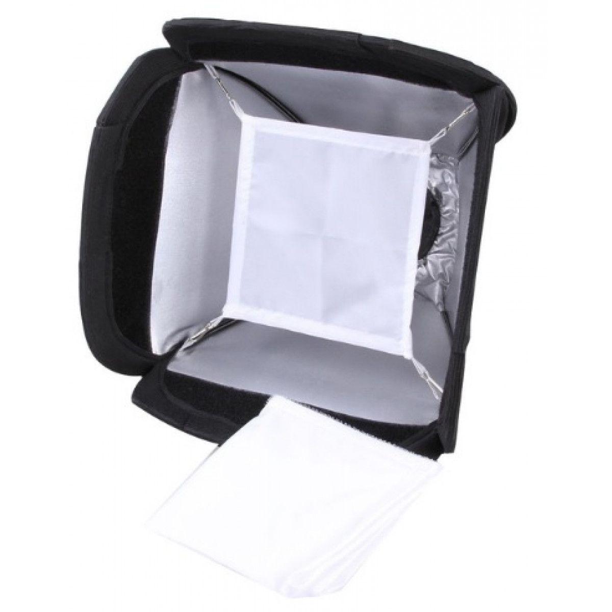 Softbox 23 x 23cm Universal Portátil para Flash Mini em Tecido + Bolsa p/ transporte