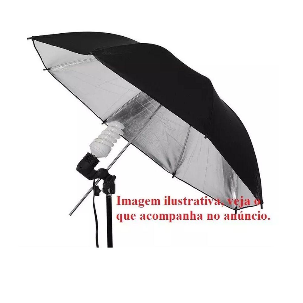 Sombrinha Fotográfica Rebatedora Prata 80cm Prateado Rebatedor Iluminação Estúdio Fotografia