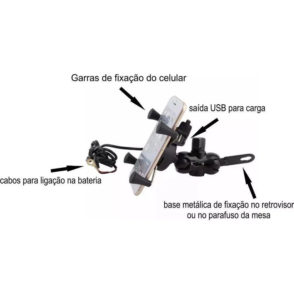 Suporte Garra Celular Para Moto e Bicicleta C/ Carregador USB Garrinha Metal Metálica