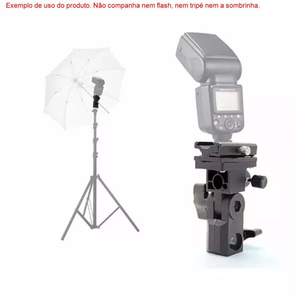 Suporte Adaptador Cabeça de Tripé Para Flash e Sombrinhas ou Softbox Com Sapata Plástica Ajustável