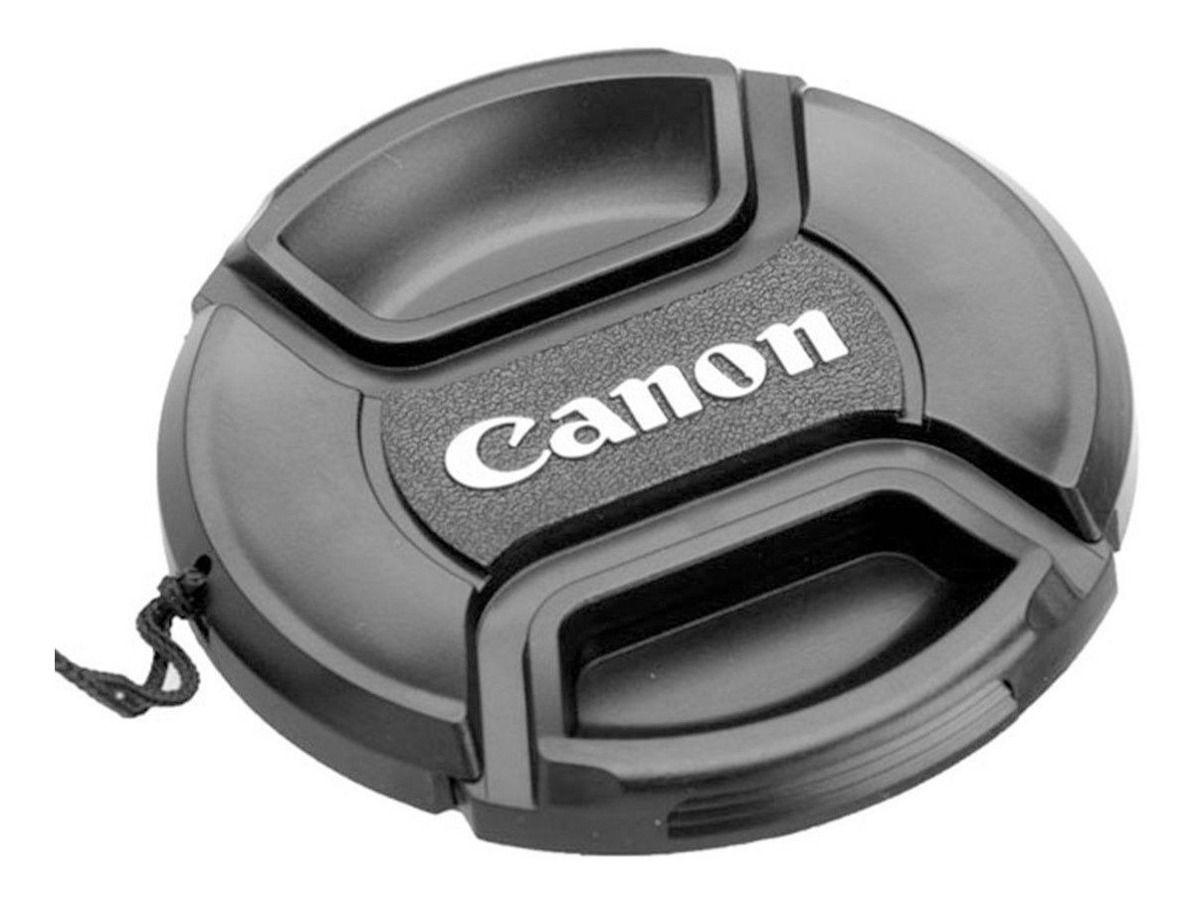 Tampa Frontal Para Lentes Fotográfica Snap-on Com Logo Canon