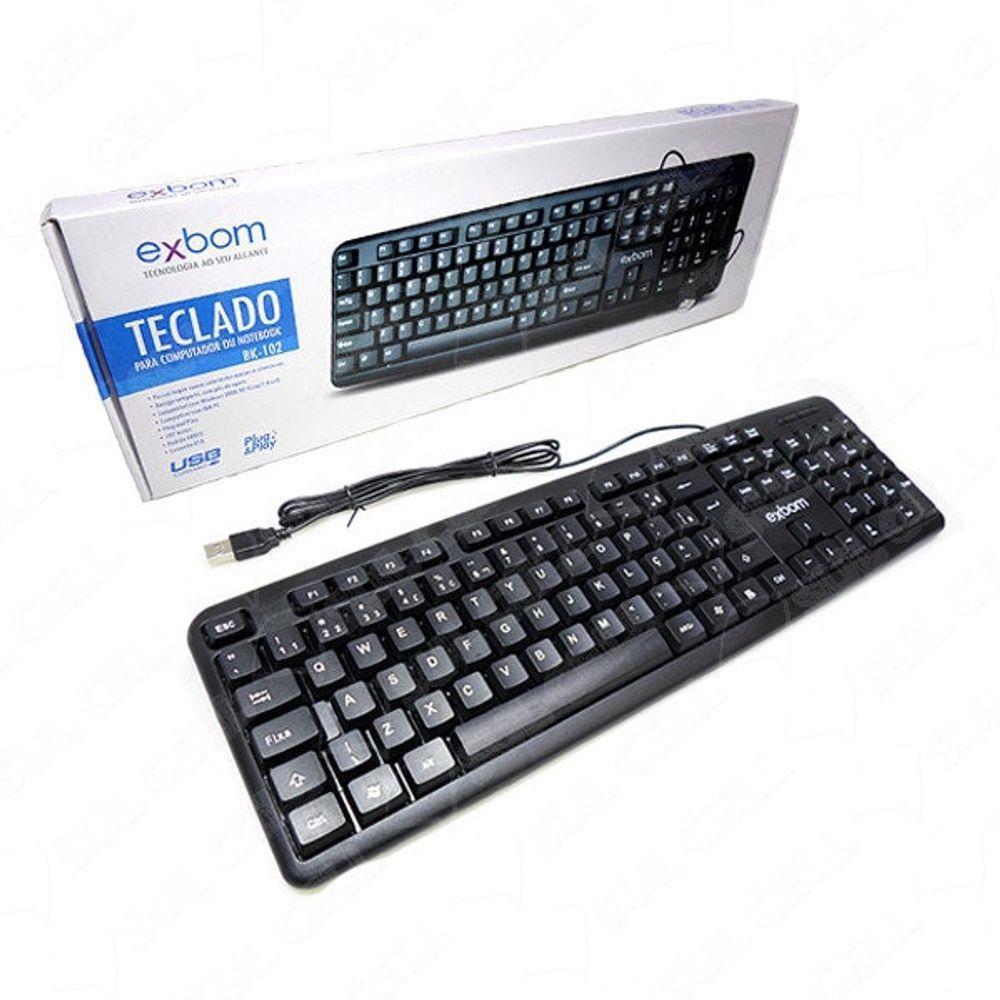 Teclado USB Com Fio Padrão Brasileiro ABNT II Exbom BK-102 Computador e Notebook