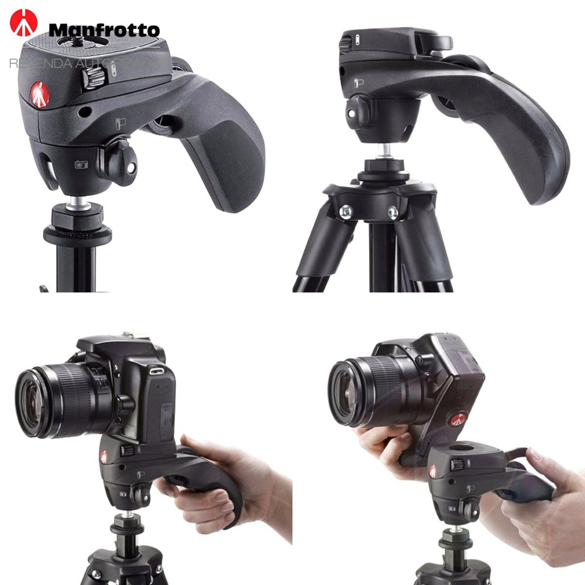 Tripé Manfrotto Compact Action Black MKCOMPACTACN-BK Altura até 1,55m 155cm