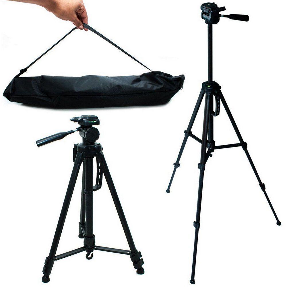 Tripé Para Câmera Fotográfica e Celular Altura até 1,45m 145cm c/ Bolsa e Suporte Celular Tomate MTG-3014