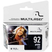 CARTUCHO COMPATIVEL COM HP 92 PRETO CO092 MULTILASER