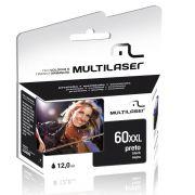 CARTUCHO COMPATIVEL COM HP 60XL PRETO CO60P MULTILASER