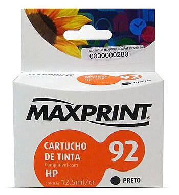 CARTUCHO COMPATIVEL COM HP 92 PRETO 611167-9 MAXPRINT