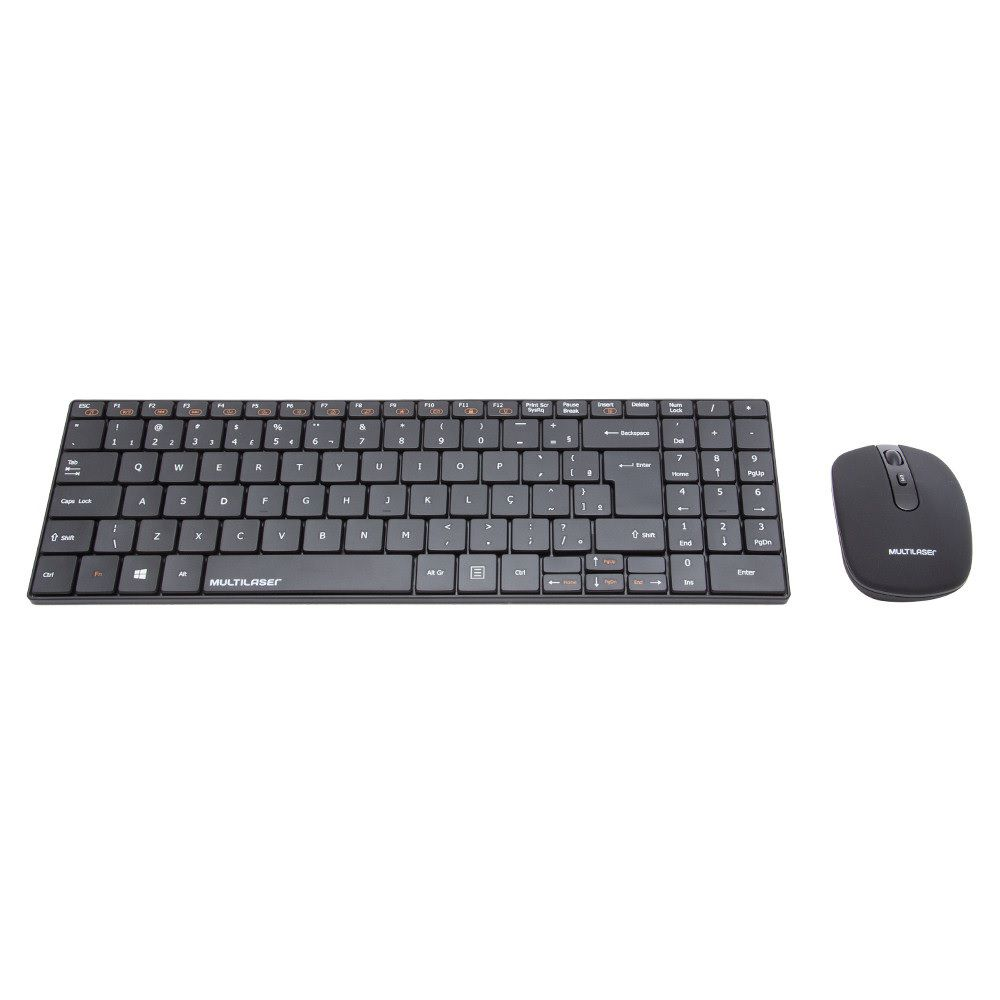 KIT TECLADO E MOUSE SEM FIO MULTIMIDIA PRETO SLIM TC202 MULTILASER