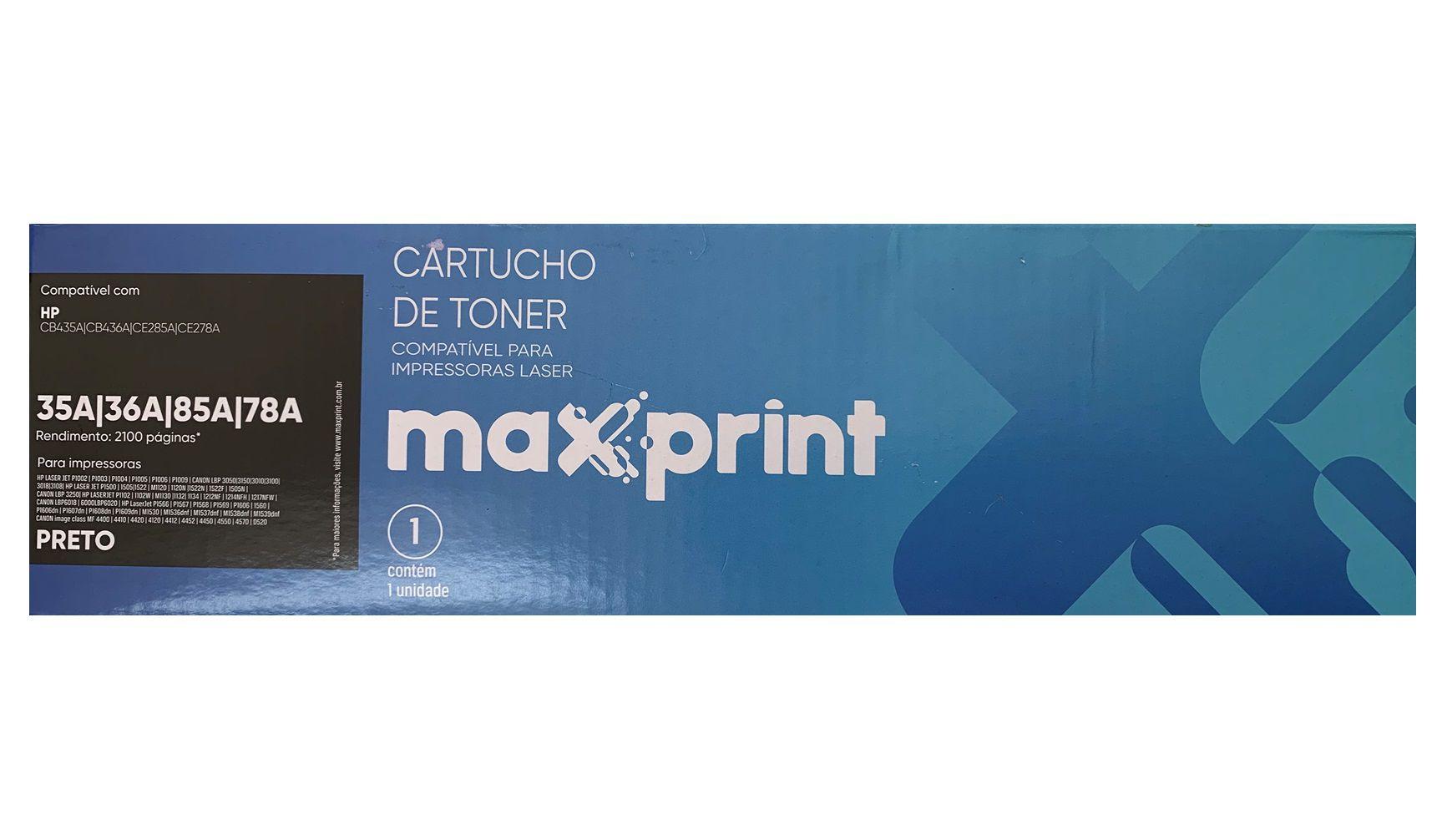 TONER COMPATIVEL COM HP 35A/36A/85A PRETO 5613777 MAXPRINT