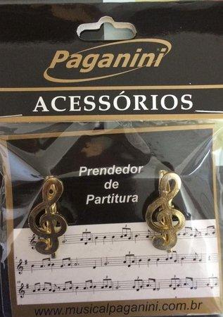 Prendedor de Partitura Paganini - Clave de Sol Dourado - Musical Perin