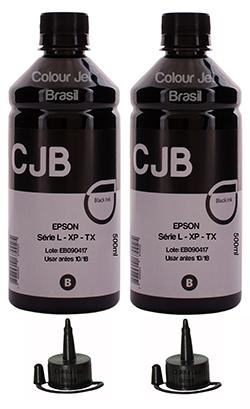 Kit Refil de Tinta Impressora Epson L365 L375 L385 L395 BLACK  (2x500ml)