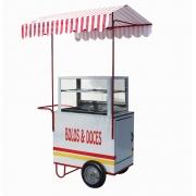 Carrinho de doces e bolos com abertura lateral e rodas pneumática Pipocar 42531