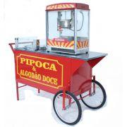 Carrinho de pipoca com 1 maquina pipoca eletrica e 1 maquina algodão doce  Pipocar 4294