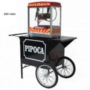 Carrinho de pipoca retrô com máquina de pipoca elétrica 220 Volts Pipocar 42502 Vermelho