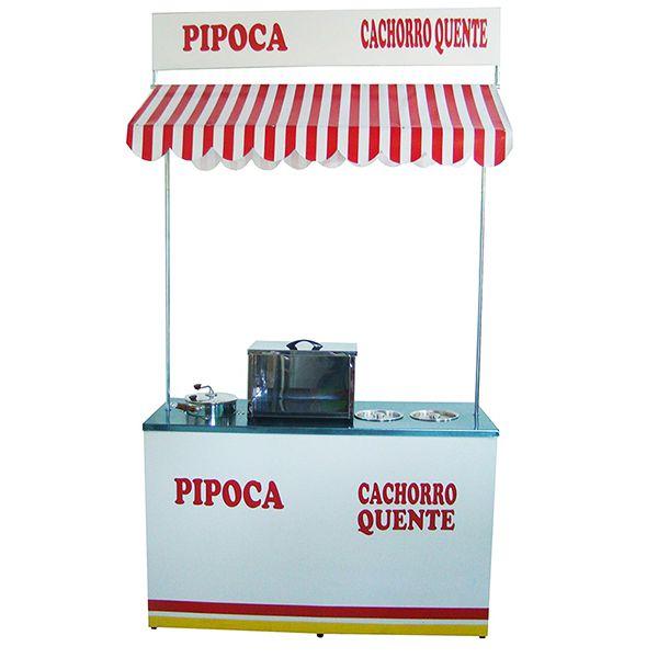 Barraca de cachorro quente e pipoca a mesa em aço inox Pipocar 30221