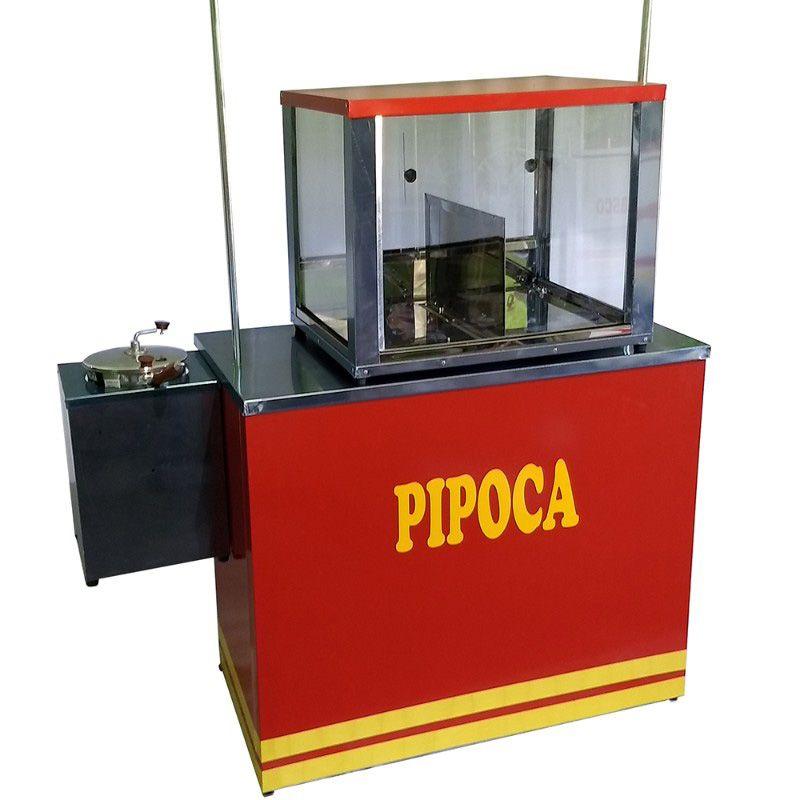 Barraca de pipoca com com mesa e caixa em inox Pipocar 30102
