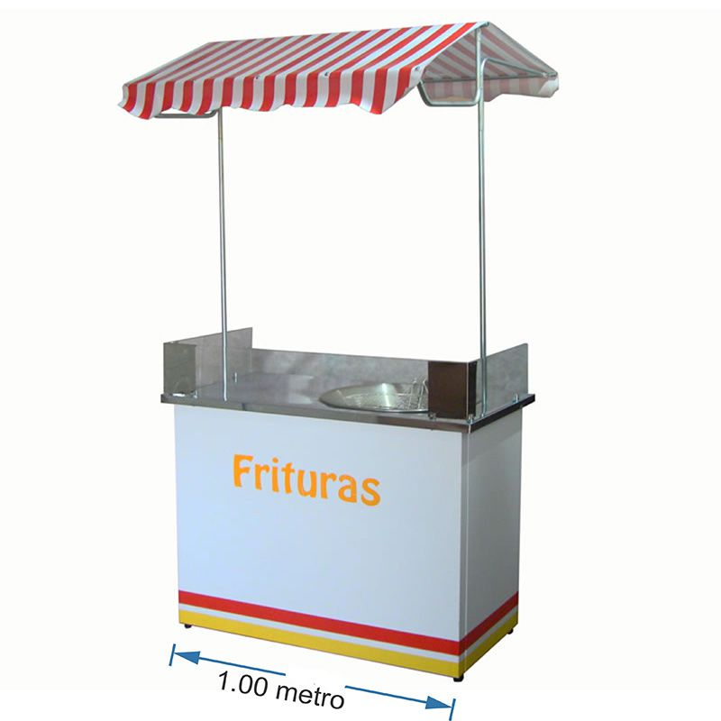 Barraca de fritura em geral com mesa em aço inox Pipocar 30351